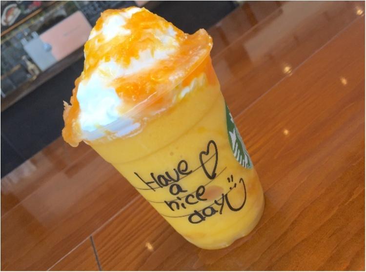 """【FOOD】今日から販売!夏にぴったり!""""マンゴーオレンジフラペチーノ"""" を○○UPでさらに美味しく♡ _6"""