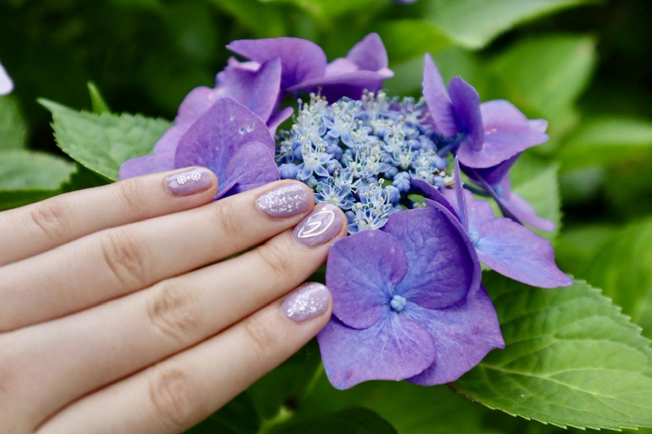 別の額紫陽花とネイルアートを並べて撮った写真