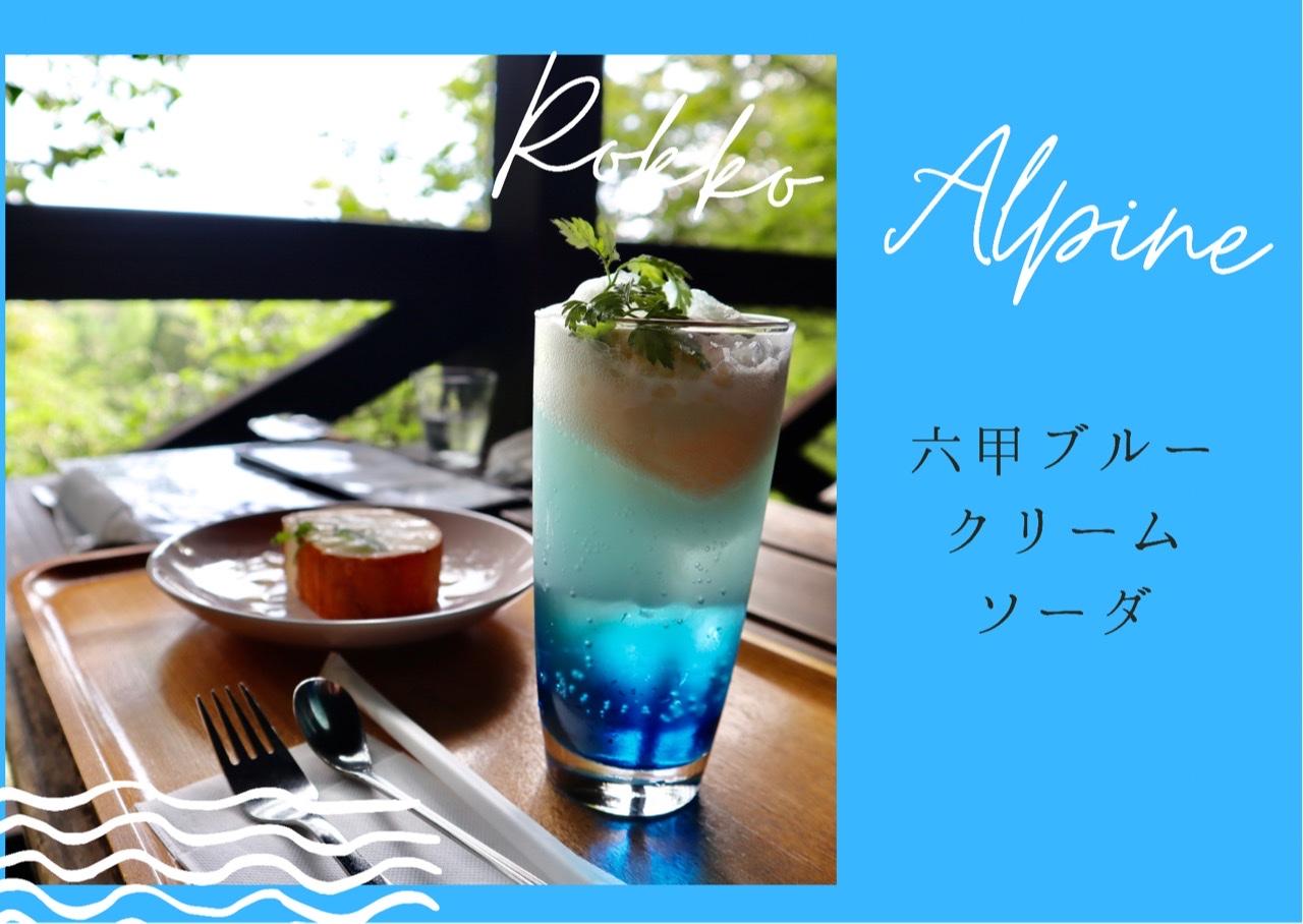 鮮やかな青色のソーダの上にバニラアイスが乗ったクリームソーダ。その後ろにロールケーキ。森の中にあるカフェで撮影