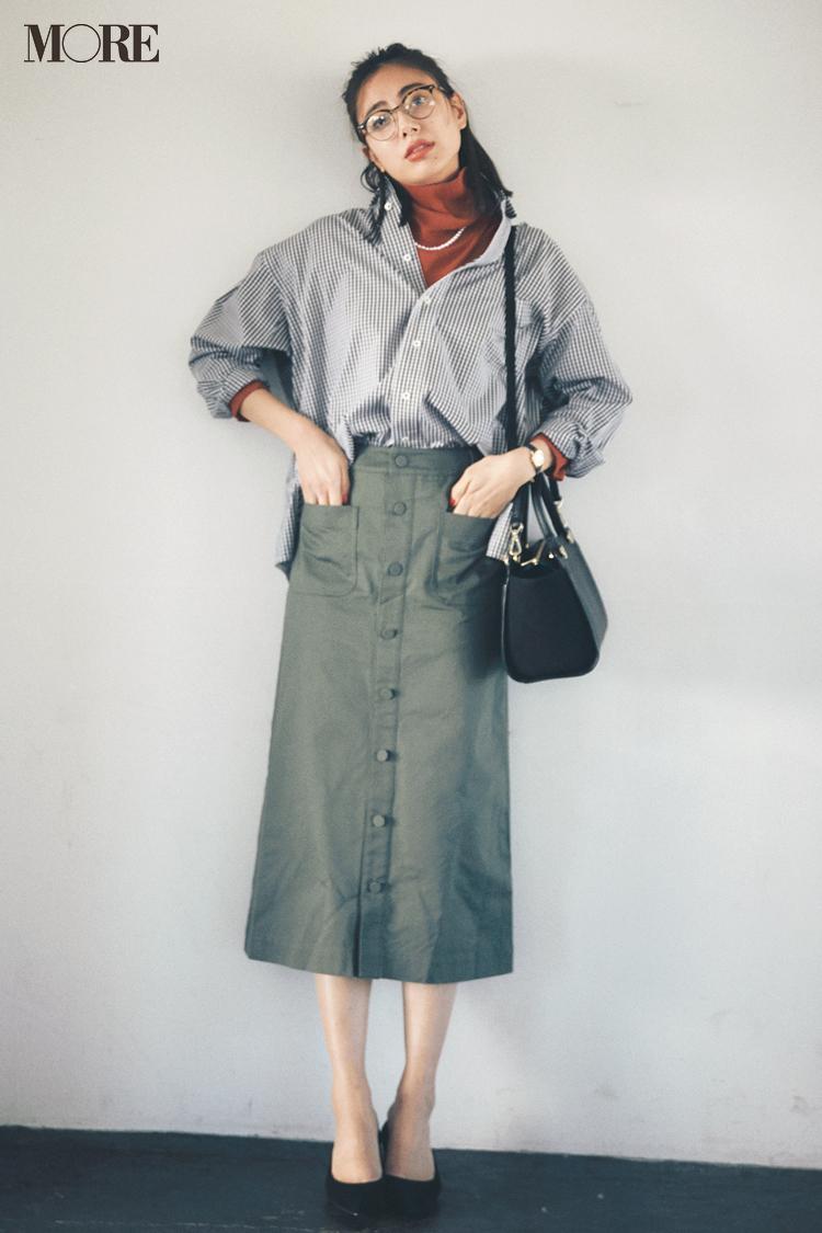 【今日のコーデ】シャツ×スカートがコンサバ見えしない最善策! タートルINでゆるっとこなれて〈土屋巴瑞季〉_1