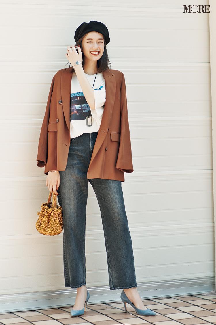 【今日のコーデ】<佐藤栞里>Tシャツとデニムのコーデがぐっと高見え。茶系のジャケットで通勤カジュアルを更新!_1
