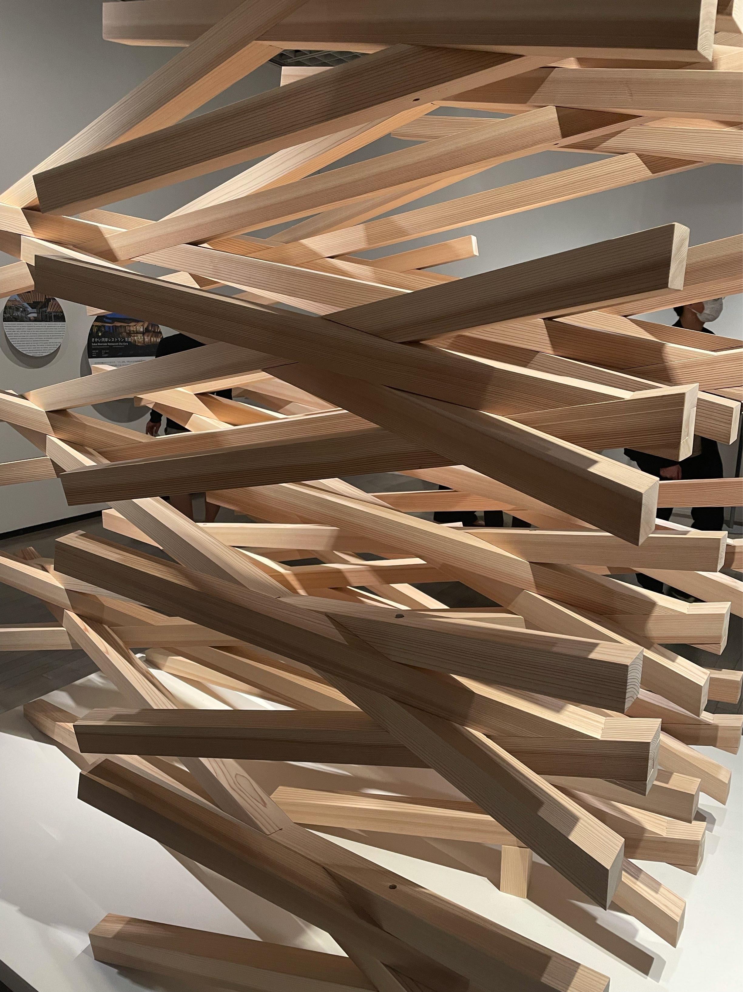 隈研吾展の木造建築