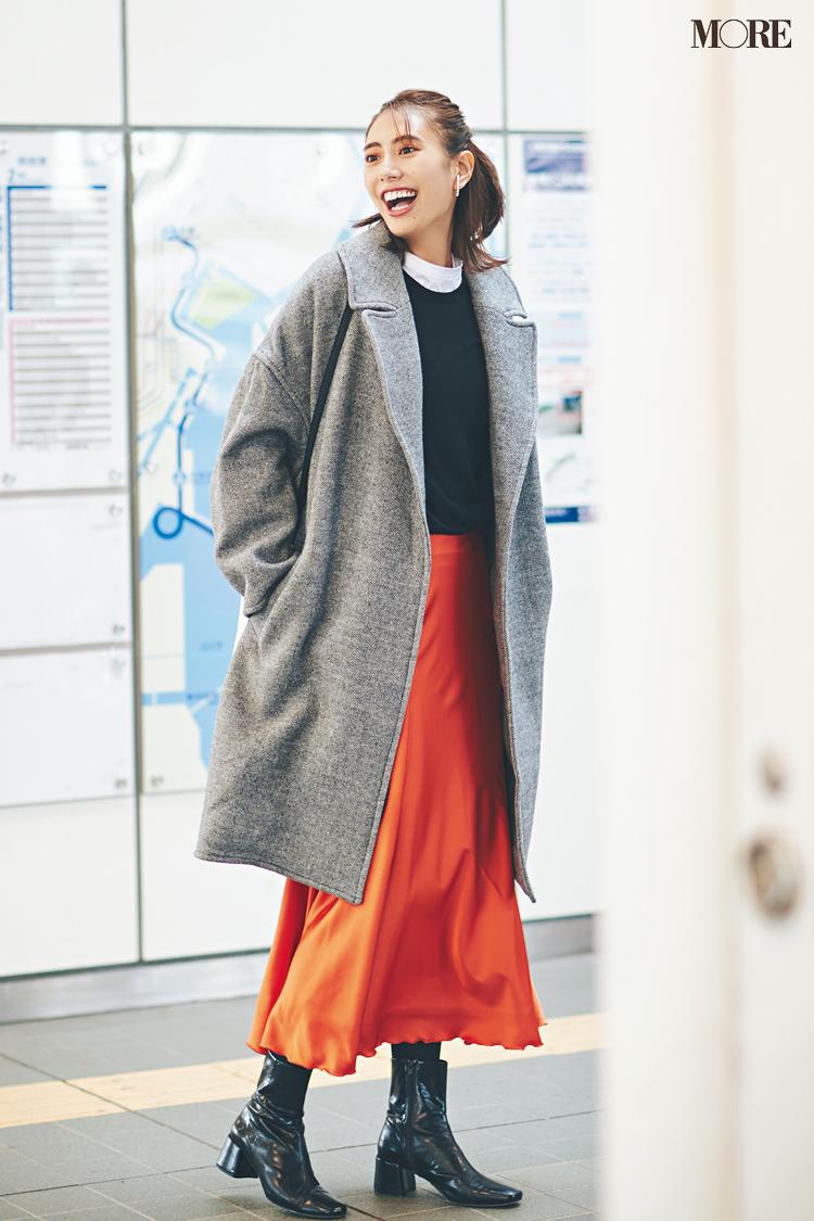 【今日のコーデ】<土屋巴瑞季>元気をチャージしたい日はつやめくオレンジのスカートを味方に!_1