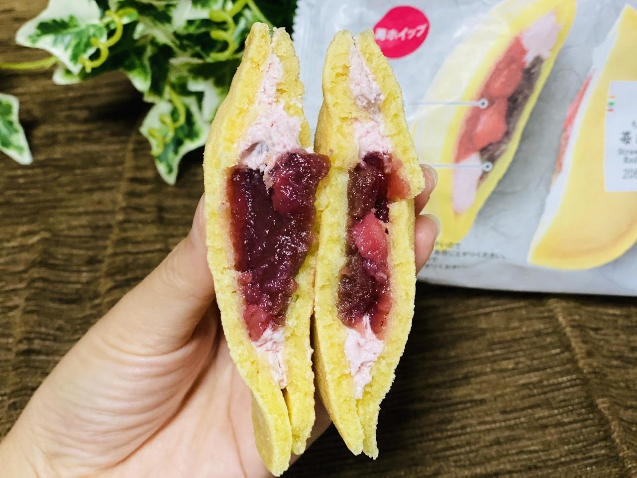 【セブンスイーツ】どこ食べても美味しい!《もちっとどら 苺&ホイップ》にハマり中♡_3