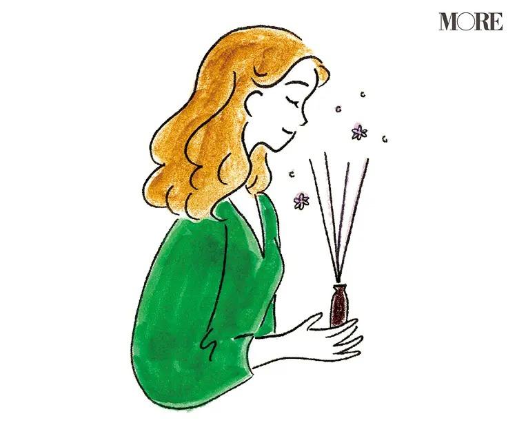 香りを嗅ぐ女性のイラスト