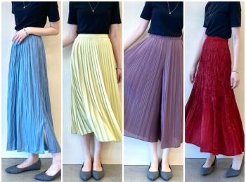 『ユニクロ』の洗えるプリーツが秋も大豊作♬︎ スカート、パンツ、ワンピース、全部着てみました!【1:きれい色編】