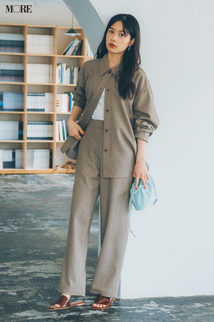 【今日のコーデ】ジャケットとワイドパンツをセットで着た松本愛