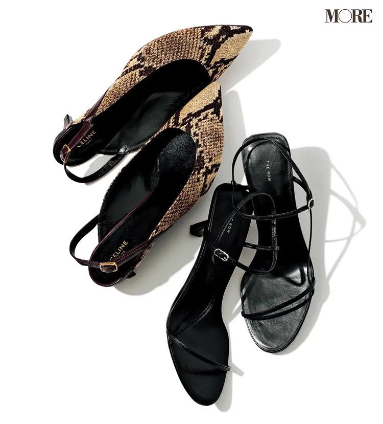 飯豊まりえ愛用のパイソン柄の靴と黒いヒール靴