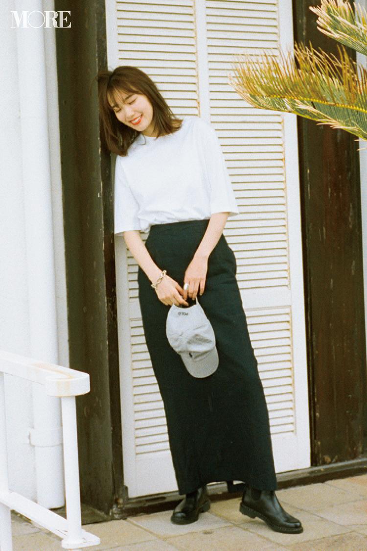 【今日のコーデ】白Tを素敵に着こなすのが今季の目標。黒タイトスカートと女らしくカッコよく! <飯豊まりえ>_1