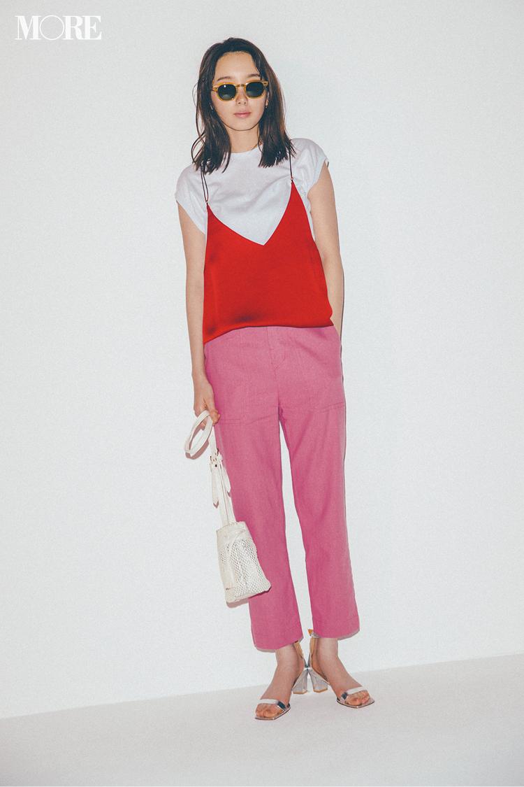 【今日のコーデ】<飯豊まりえ>休日のランチ女子会。赤とピンクの技あり同系色コーデに視線を集めて_1