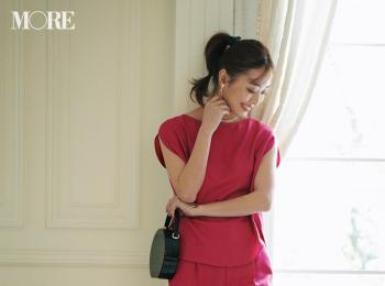 【今日のコーデ】同窓会は鮮やかなピンクのセットアップで。しかもパンツスタイルが新鮮でしょ♡ <内田理央>