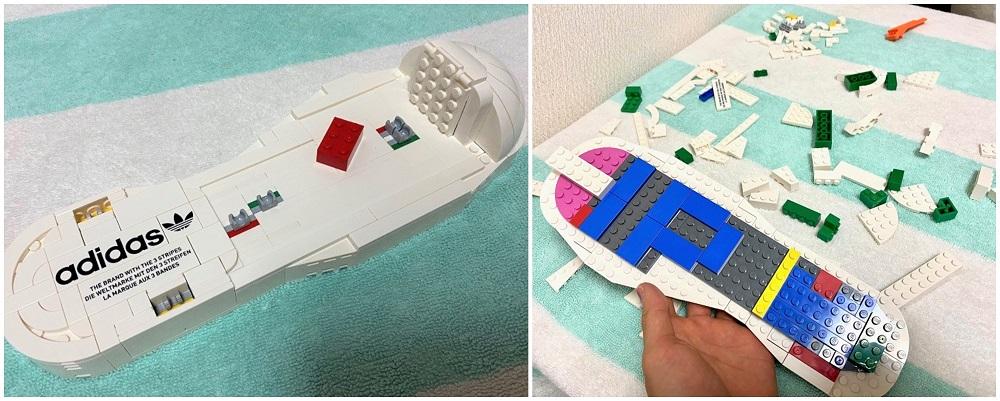 「レゴ アディダス オリジナルス スーパースター」のインソールを組み立てている様子。