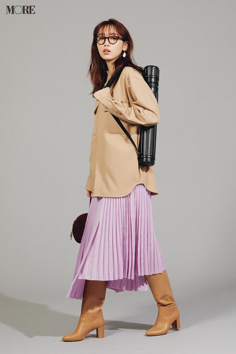 【今日のコーデ】<飯豊まりえ>通勤スカートコーデはきれい色で格上げ!ラベンダーにベージュの大人な甘さが素敵_1