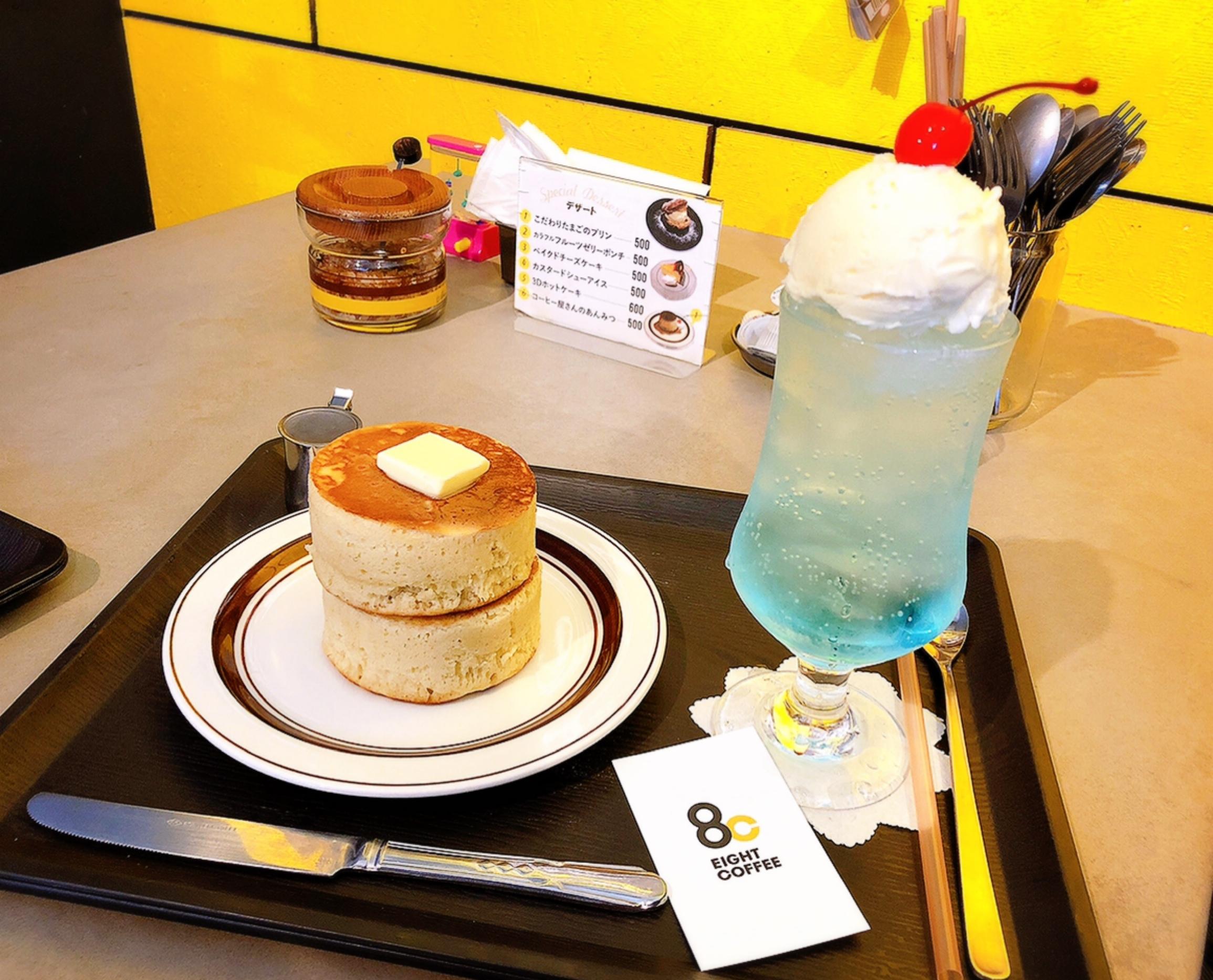 【#静岡】空色クリームソーダとふかふか3Dホットケーキ♡純喫茶風のモダンなカフェ《8COFFEE》_6