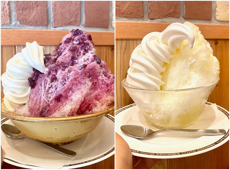 コメダ、2021年かき氷の新作(左)「ラ・フランス氷」(右)「ぶどう氷」