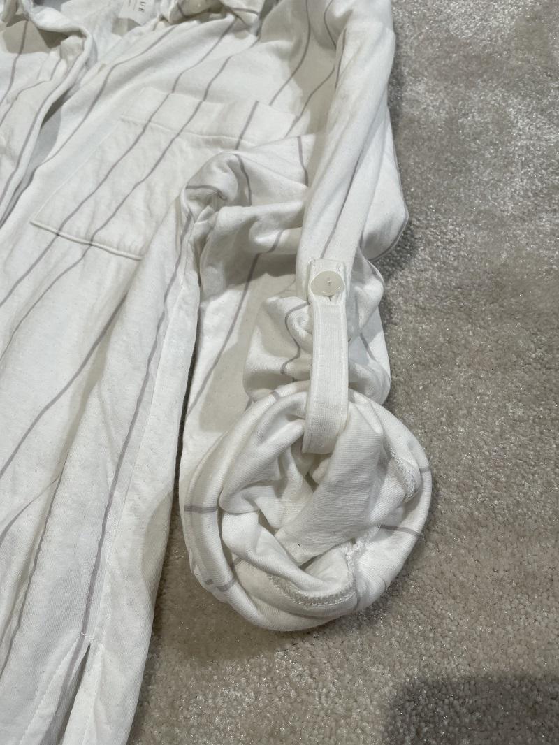 ジェラートピケ、シャツパジャマの袖の寄り