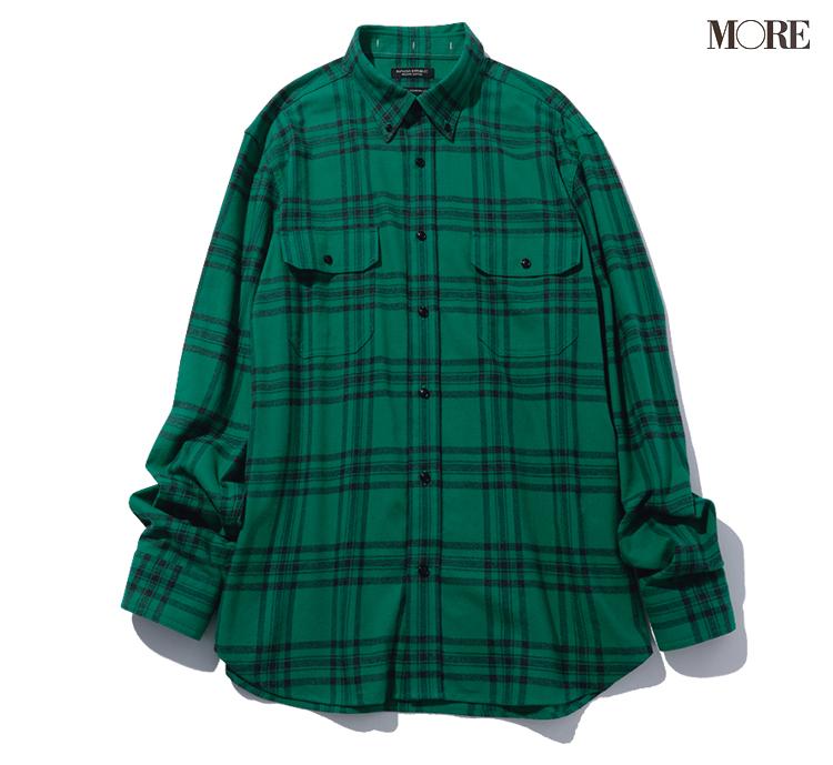グリーンのチェックシャツ