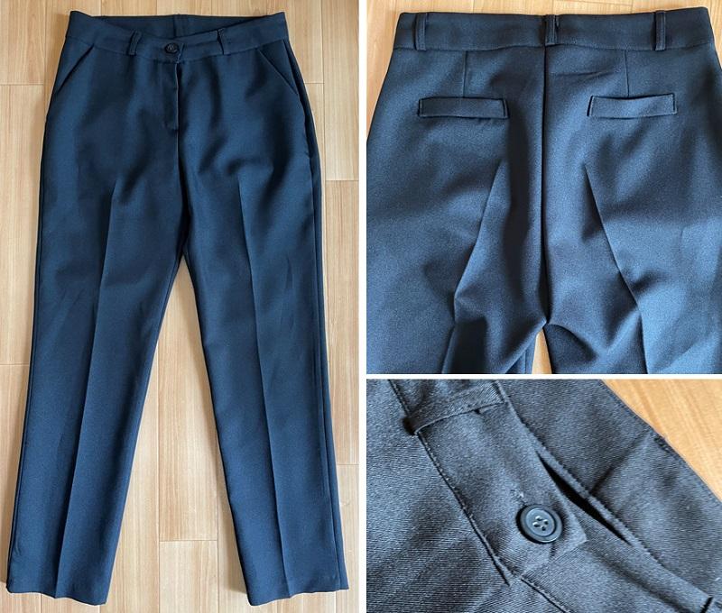 DHOLICの黒い細身パンツ