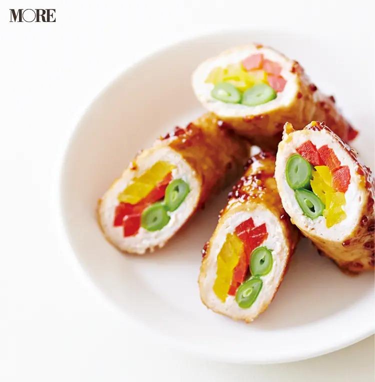 【作り置きお弁当レシピ】1. 豚肉(薄切り)の「肉巻きでハニーマスタード炒め」