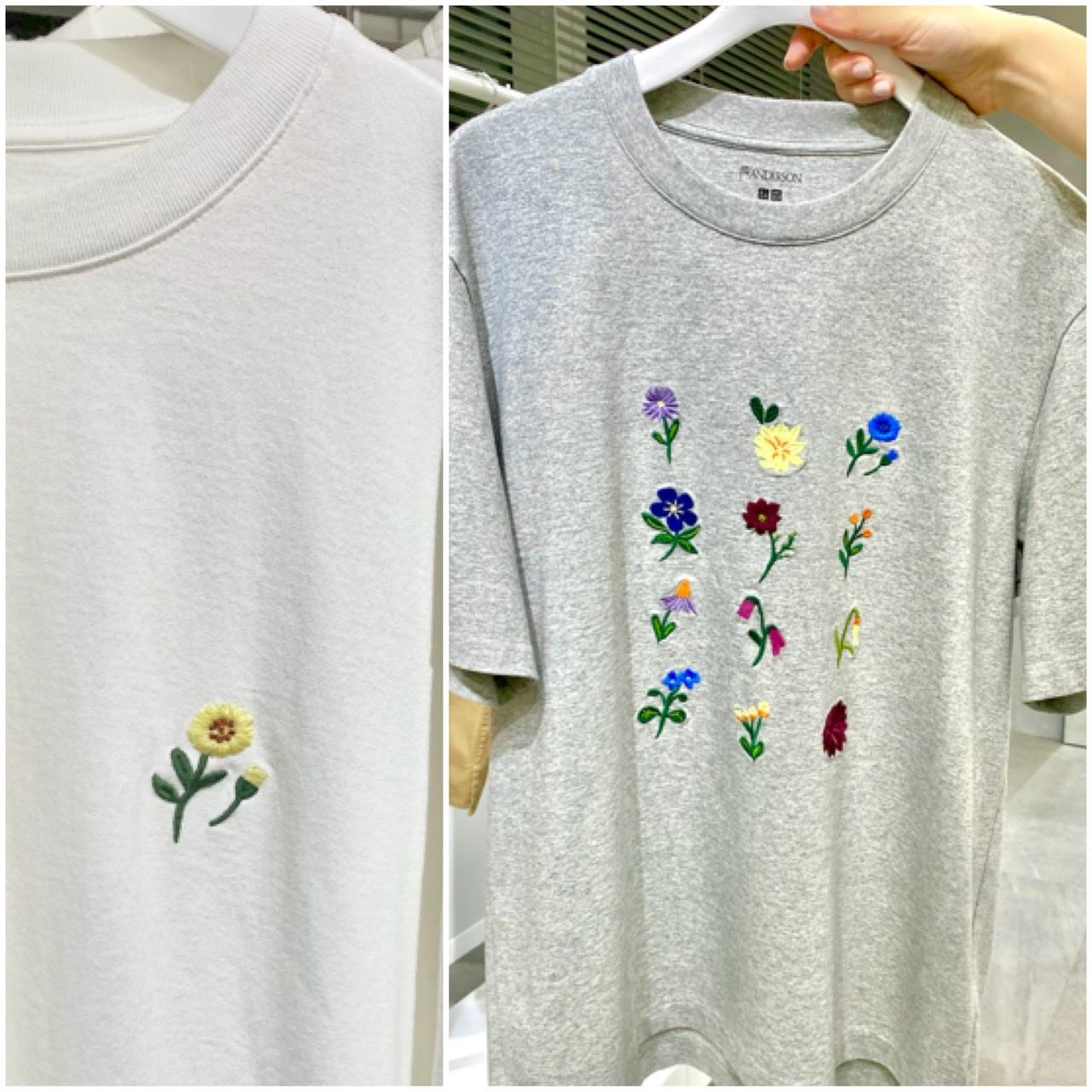 ユニクロ×JWアンダーソン、花の刺繍が施されたTシャツ