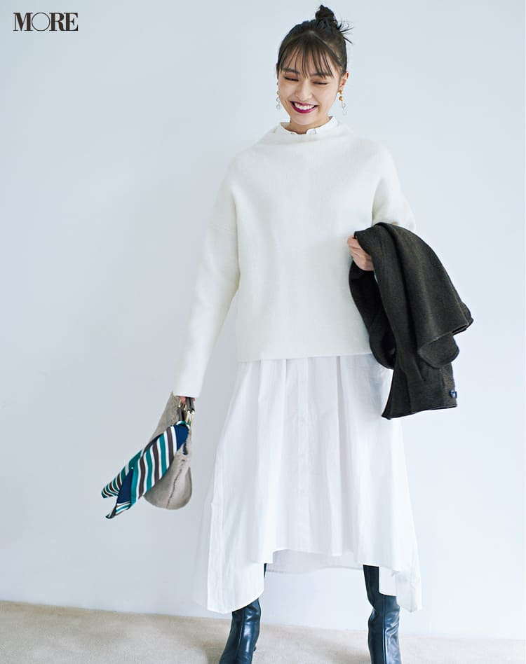 白ニットコーデ【2020冬〜春】- 着膨れしない細見えテクニックなど、白い服の最旬レディースコーディネートまとめ_10