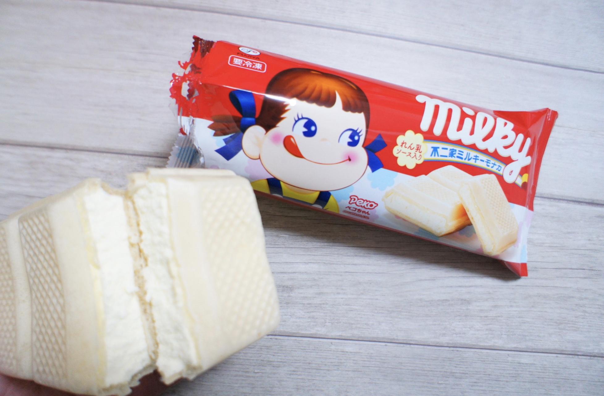 《どこを食べてもミルキー風味⁈❤️》新作アイス【不二家ミルキーモナカ】が美味しすぎる!☻_3
