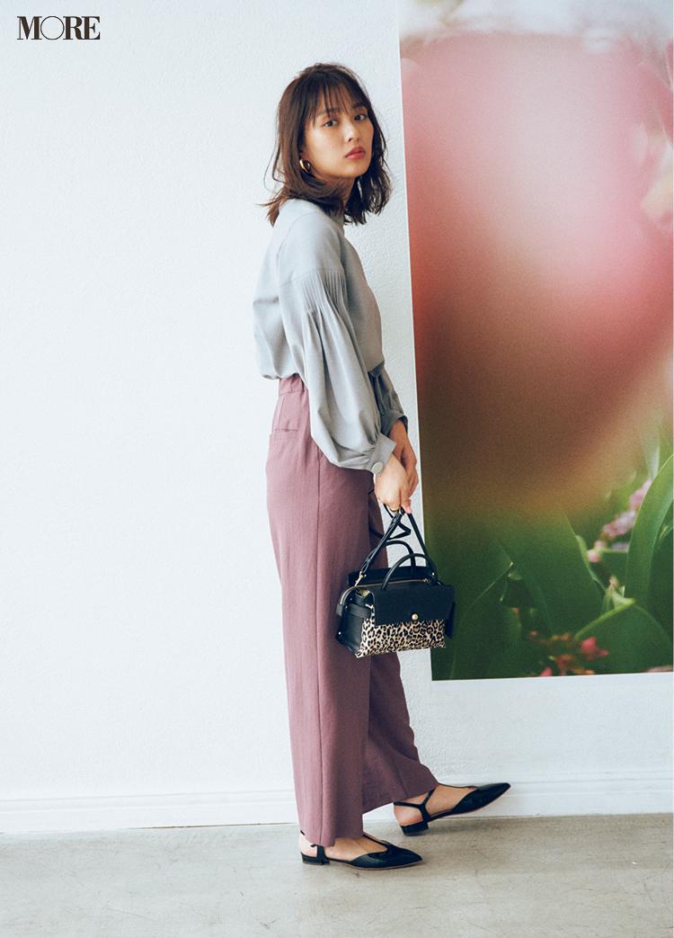 働く女子に必要な甘さときれいさは、モーヴピンクのパンツ×グレー配色で楽々クリア♡ _4