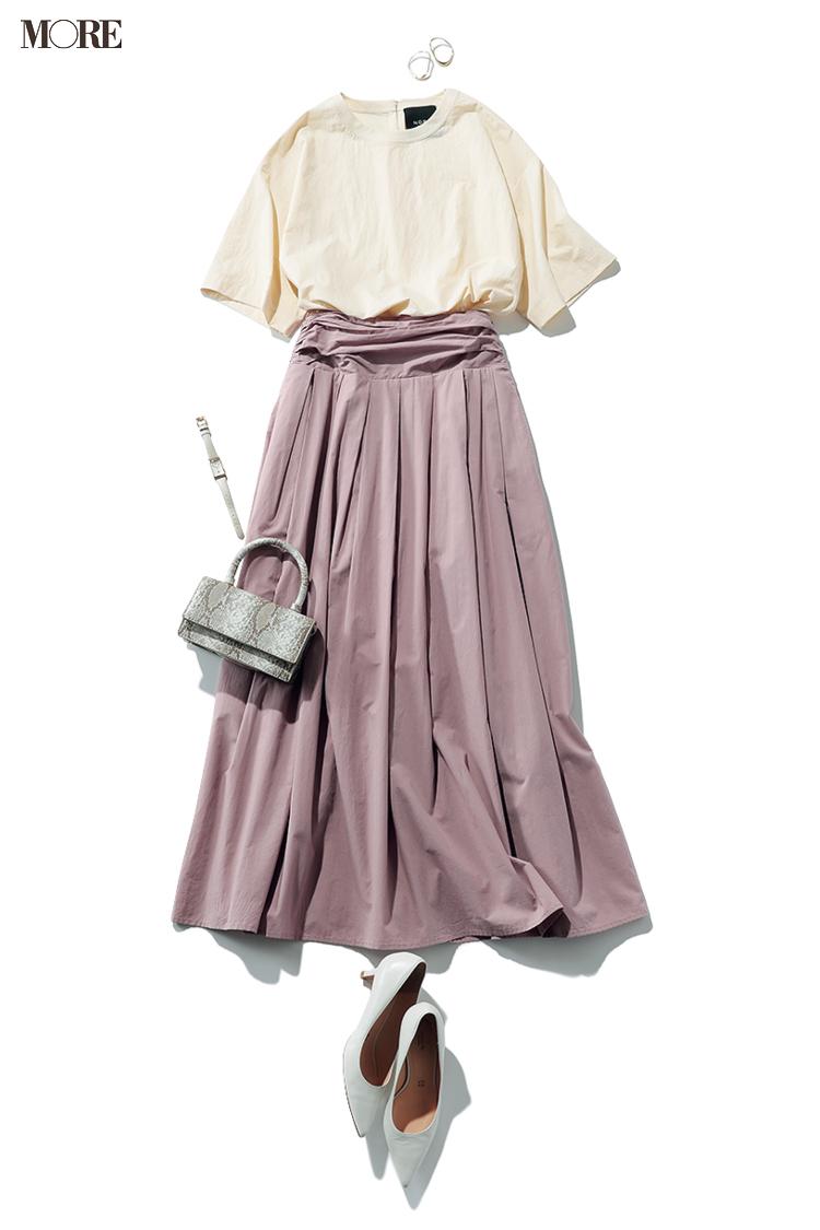 【今日のコーデ】シャーベットカラーのブラウスとスカートで脱コンサバ