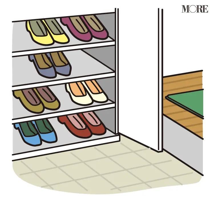 風水の開運掃除法で靴が整頓された靴箱