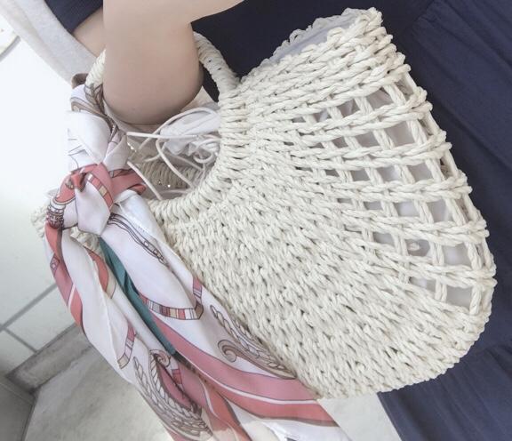 夏はやっぱりかごバッグ★スカーフアレンジが可愛い♡なんと2,700円でGETしました!_5