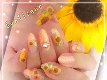 【夏ネイル・マニキュア】Summer  NAIL ♡Sun Flower