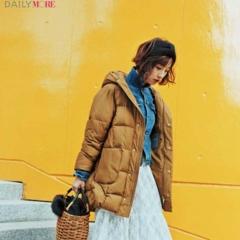 【今日のコーデ/篠田麻里子】甘いスカートが気分なら、ボリューミーなダウン&スニーカーで絶妙にテイストMIX!