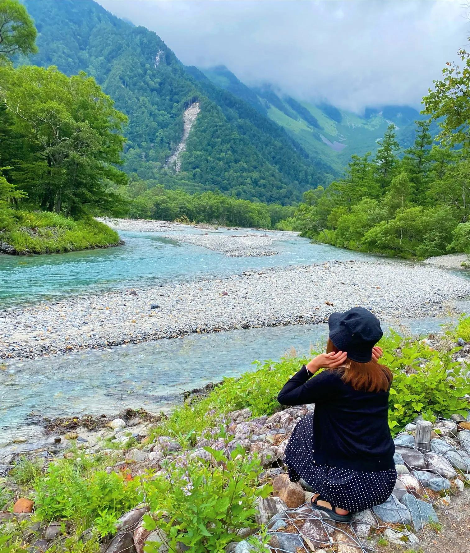 長野県上高地、北アルプスの景色