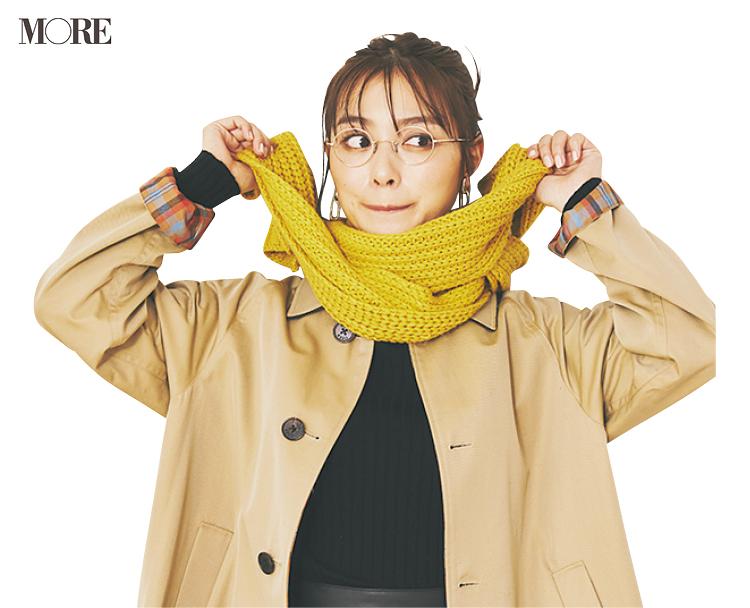 内田理央と「小顔見え」なケーブル編みマフラーの巻き方にトライ! _5
