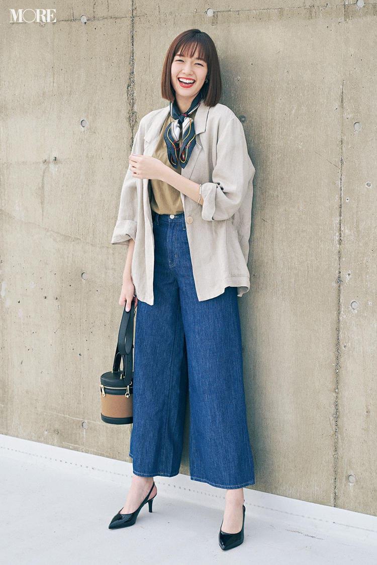《デニムコーデ》定番カジュアルが女っぽく♡オンの日はジャケットや小物で格上げして!