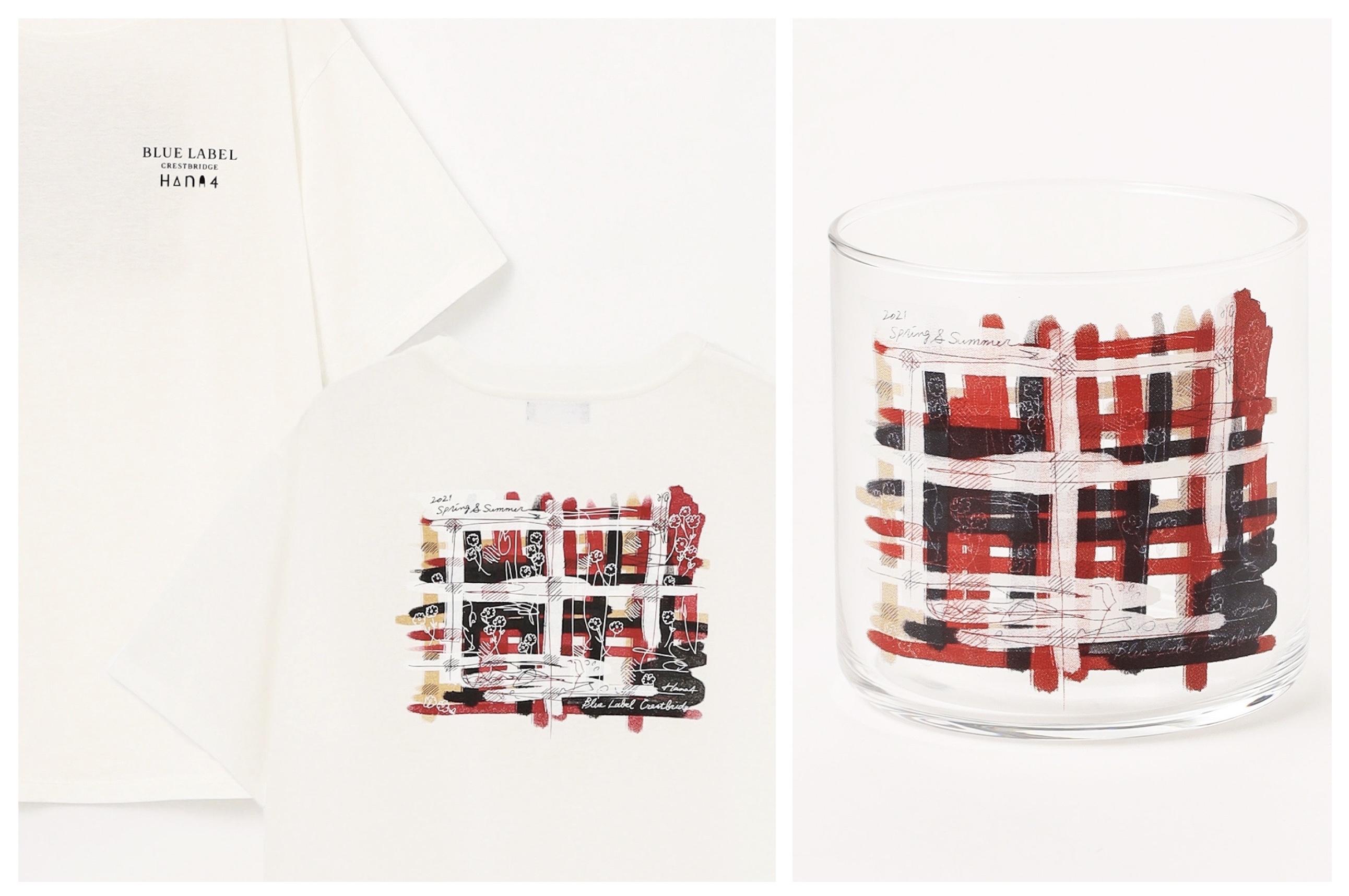 原宿店限定のクレストブリッジチェックグラフィックTシャツと、ノベルティのグラス