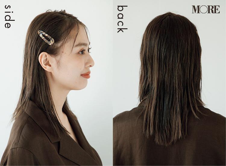梅雨のシンプルバレッタヘアアレンジを横と後ろからみた髪型