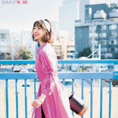 【今日のコーデ/篠田麻里子】晴れた休日に似合うワンピといえばストライプ! ブルーのサンダルとカラフルに心もはずんで♪