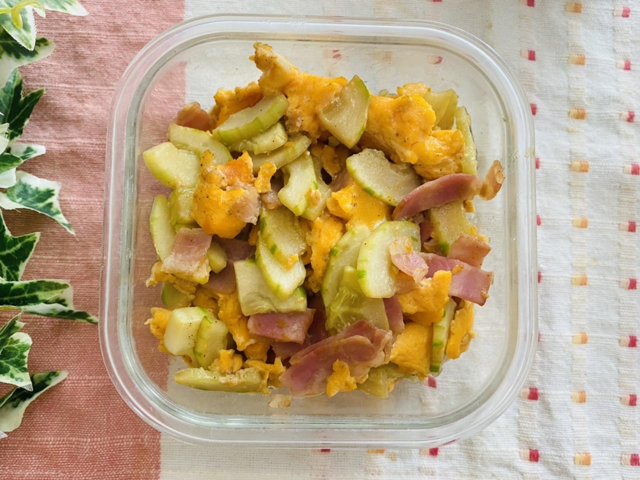白瓜とベーコンの卵炒め
