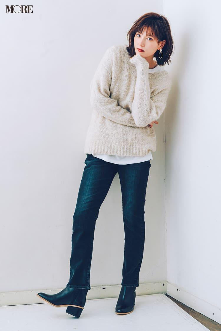 白ニットコーデ【2020冬〜春】- 着膨れしない細見えテクニックなど、白い服の最旬レディースコーディネートまとめ_36
