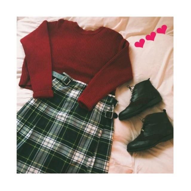 《いよいよ今週末❤︎》X'masデートに着て行きたい【赤ニット×グリーンチェック】でクリスマスカラーコーデ❤️_1