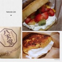 """くりーむパンを鉄板で焼いちゃう⁉️Hattendo caféで実演販売されている""""フレンチバーガー""""とはΣd(・ω・*)"""