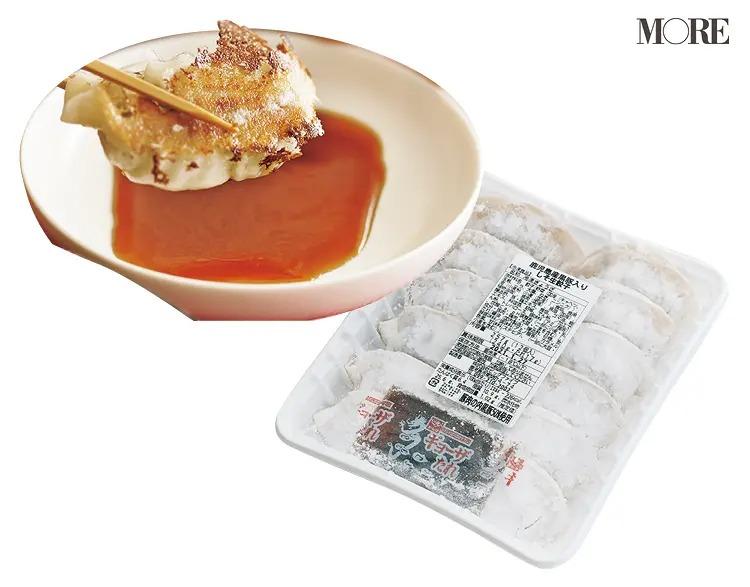 鹿児島県からお取り寄せした生餃子に醤油をつける