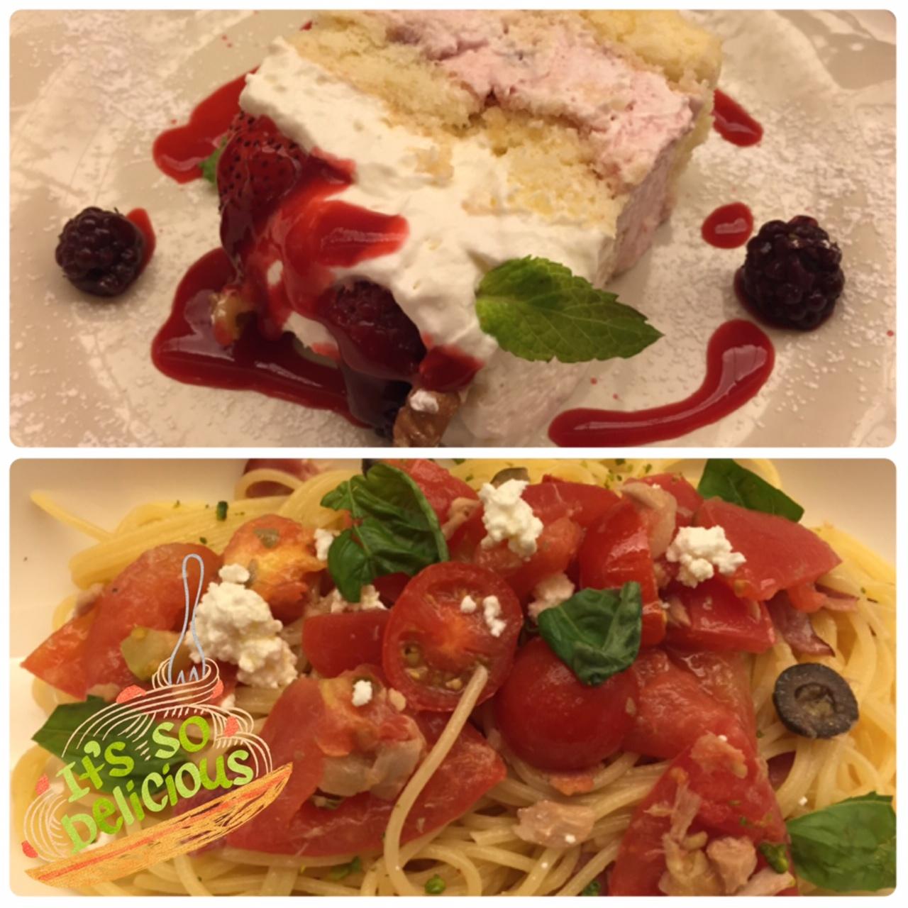 【Afternoon Tea】フレッシュトマトとカッテージチーズのパスタ&ベリーベリーチーズケーキ_1
