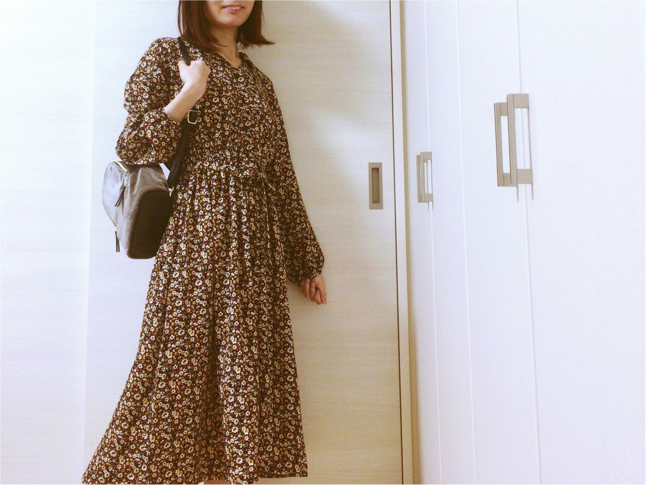 《Honeys》ヴィンテージ風花柄ワンピース【秋冬ファッション】プリプラ楽チンで!可愛いのんGET♡_3