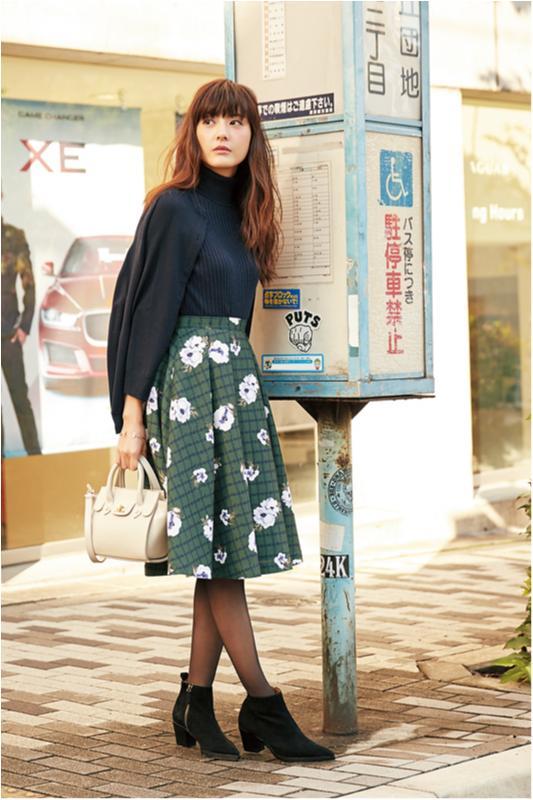 【今日のコーデ/佐藤ありさ】好感度を上げたい水曜日は花柄スカートをシックに♡_1