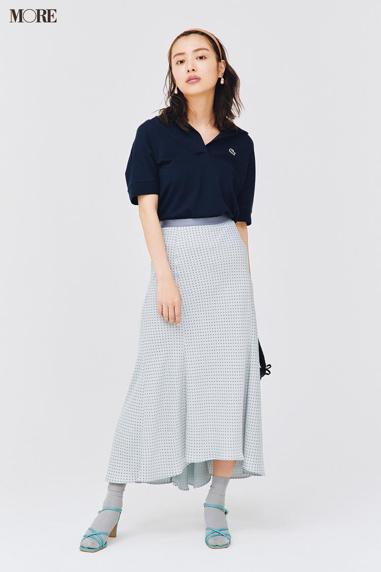 【今日のコーデ】ポロシャツとスカートコーデの内田理央