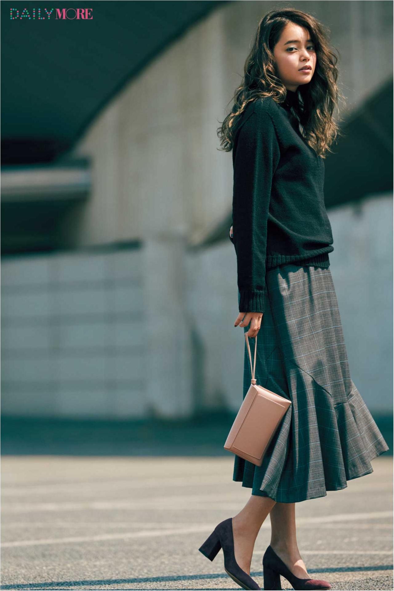 【今日のコーデ/岸本セシル】チェックのイレヘムスカートが主役。今季のトラッドは女っぽく進化してる!_1