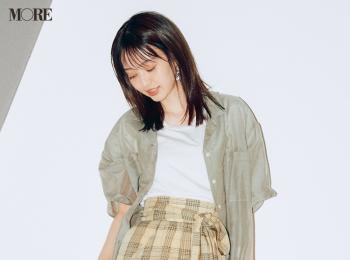 【今日のコーデ】<逢沢りな>透け感シャツは可愛げカジュアルに。ニュアンスカラーで大人見えも!