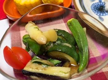 【我が家の定番!夏野菜の揚げ浸し!】市場でお野菜を買ったよ♡